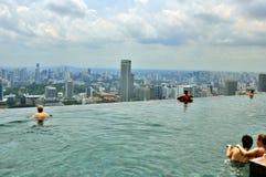Marina BaySands SkyPark. SkyPark & Swimming Pool on the top of the Marina Bay Sands hotel, Singapore Royalty Free Stock Photo