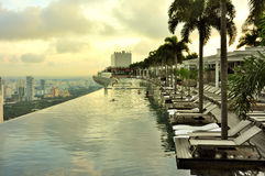 Marina BaySands SkyPark. Morning View of SkyPark & Swimming Pool on the top of the Marina Bay Sands hotel, Singapore Stock Photography