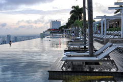 Marina BaySands SkyPark. Early Morning View of SkyPark & Swimming Pool on the top of the Marina Bay Sands hotel, Singapore Royalty Free Stock Photography