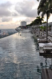 Marina BaySands SkyPark. Early Morning View of SkyPark & Swimming Pool on the top of the Marina Bay Sands hotel, Singapore Stock Images