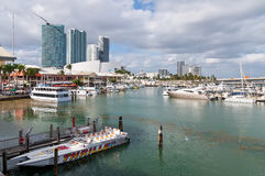 Marina at Bayside Marketplace Miami. Miami, USA - November 25, 2011: Bayside Entertainment Market Place and Marina on a nice warm autumn day with the American Royalty Free Stock Images