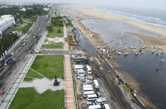Marina Beach, Chennai, Tamil Nadu, India, Asia. Top view of Marina Beach, Chennai,Tamil Nadu,India,Asia taken from the lighthouse during the monsoon season stock images