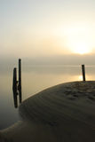 Marina Beach at Sunrise. Marina Beach and Pilings at Sunrise Royalty Free Stock Photo