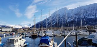 A marina in a beautiful fjord. stock image