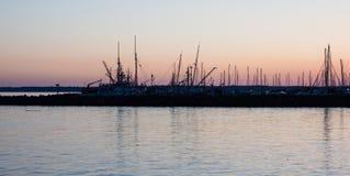 Marina in Bellingham, WA. Sunset at Bellingham marina, Washington state, Pacific Northwest Stock Photo