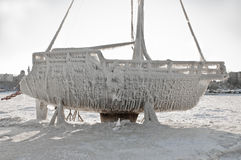 Marina boat under ice after blizzard Stock Photography