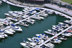 Marina Boats 3. Several boats berthed outside the Marina Sailing Club Royalty Free Stock Photo