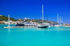 Marina with boats on the bay of Zakynthos Royalty Free Stock Image