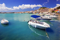 Marina with boats on the bay of Zakynthos Stock Images