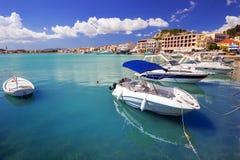 Marina with boats on the bay of Zakynthos Stock Images