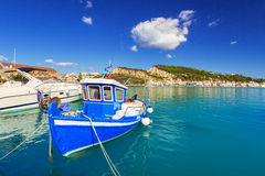 Marina with boats on the bay of Zakynthos Royalty Free Stock Photo