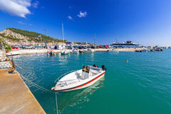 Marina with boats on the bay of of Zante town Royalty Free Stock Photos