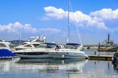 Marina boats in the Black Sea of Sozopol Bulgaria Royalty Free Stock Photography