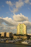 Marina with boats in miami florida Stock Image