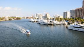 Marina, boats in South Florida intercoastal Royalty Free Stock Photos