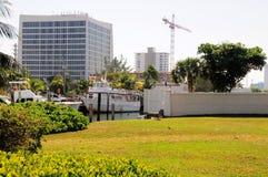 Marina, boats, yachts, buildings, Florida Royalty Free Stock Images