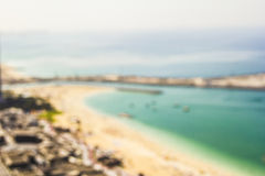 Marina brouillée de Dubaï de plage de fond Photos libres de droits