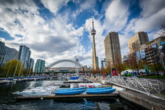 Marina and buildings at the Harbourfront, in Toronto, Ontario. Stock Photography