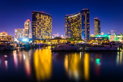 Marina and buildings reflecting at the Embarcadero at night in S stock photography