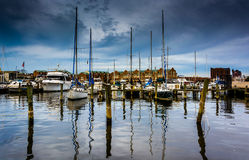 Marina in Canton, Baltimore, Maryland. Stock Photo