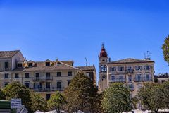 Marina by the  the Citadel or Old Fortress in Corfu town on the the Greek island of Corfu Stock Image