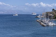 Marina by the Citadel or Old Fortress in Corfu town on the the Greek island of Corfu Royalty Free Stock Images