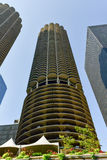 Marina City - Chicago. Marina City is a complex of two 60-story towers built in 1964  in Chicago, USA. Apartments, offices, restaurants, banks, theater,18 Royalty Free Stock Photos