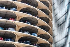 Marina City spiral parking, Chicago stock photo