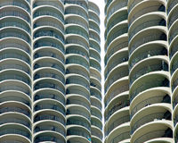 Marina City Towers Closeup - Chicago, IL. A closeup of Chicago's Marina City Towers. These buildings, designed by Bertrand Goldberg and built in the 1960 as royalty free stock image