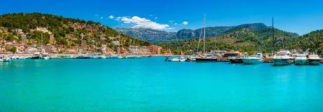 Marina at coast of Port de Soller on Majorca island, Spain. Panoramic seaside landscape view of yachts boats at bay of Port de Soller, Mallorca, Mediterranean stock photo