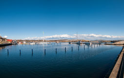 The marina on the coast Verdens ende, Norway royalty free stock image