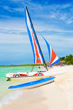 Marina with colorful catamarans  at a beach in Cuba Stock Photo