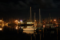 Marina in Corpus Christi at night Royalty Free Stock Photos