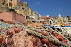 Marina Corricella, Insel von Procida stockbild