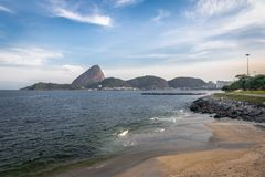 Marina da Gloria Beach and Sugar Loaf Mountain on background - Rio de Janeiro, Brazil. Marina da Gloria Beach and Sugar Loaf Mountain on background in Rio de royalty free stock image