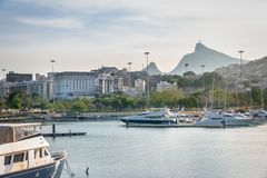 Marina da Gloria Boats and Corcovado Mountain on background - Rio de Janeiro, Brazil. Marina da Gloria Boats and Corcovado Mountain on background in Rio de stock images
