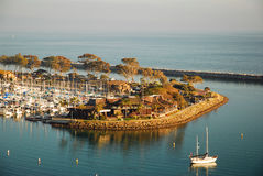 Marina at Dana Point. An aerial view of Dana Point shows the natural beauty of the harbor stock images