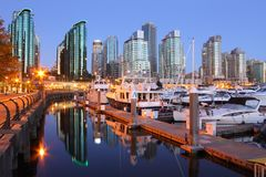 Marina Dawn, Coal Harbor, Vancouver Stock Image