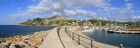 Marina de Bonaire Panorama. The boat harbour of Bonaire north of Alcudia. In the background you can see the peninsula 'La Victoria royalty free stock photos