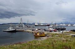 Marina de guerra la Argentina de la base militar en Ushuaia Fotos de archivo