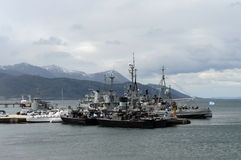 Marina de guerra la Argentina de la base militar en Ushuaia Fotos de archivo libres de regalías