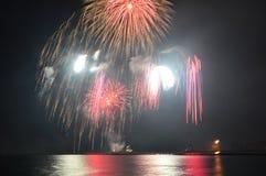 Marina de guerra Pier Fireworks Imagenes de archivo