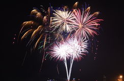 Marina de guerra Pier Fireworks Chicago Fotos de archivo libres de regalías