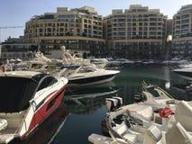 Marina de luxe moderne de Portomaso Photos libres de droits