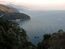 Marina del Cantone - bay. Massa Lubrense, Naples, Campania, Italy - September 4, 2014: the bay in front of Marina del Cantone view from the path that leads to Stock Photography