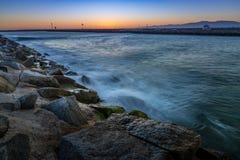 Marina del Rey efter solnedgång arkivfoton