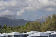 Apuan Alps in Versilia seen from the beach Stock Photography