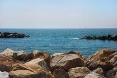 Marina-Di-Pisa beach, Thyrrenian sea, Tuscany, Italy. Bright summer day, afternoon Stock Photos
