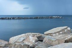 Marina-Di-Pisa beach, Thyrrenian sea, Tuscany, Italy. Sunset Royalty Free Stock Photos