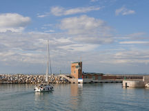 Marina di Pisa sunset view of the port Stock Images